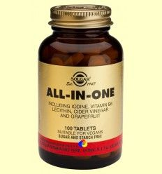 All in One - Yodo - Vitamina B6 - Lecitina - Solgar - 100 comprimidos