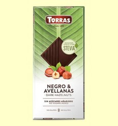 Chocolate Stevia Negro con Avellanas - Torras - 125 gramos