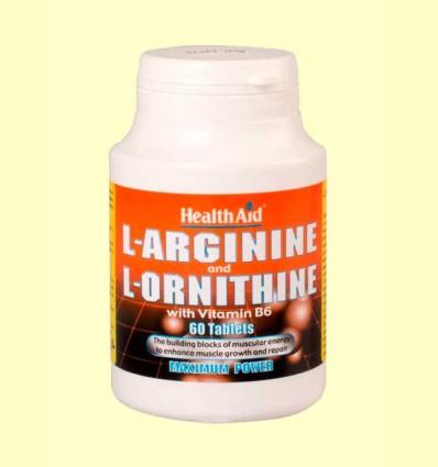 L-Arginina 600 mg / L-Ornitina 300 mg con Vitamina B6 - Health Aid - 60 comprimidos