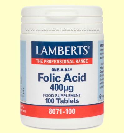Ácido Fólico 400 µg - Lamberts - 100 tabletas