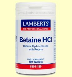 Betaína y Pepsina - Lamberts - 180 comprimidos