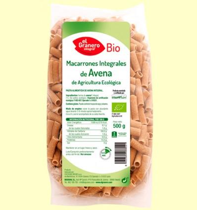 Macarrones de Avena Integral Bio - El Granero - 500 gramos