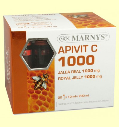 Apivit C 1000 mg - Jalea Real y Vitamina C - Marnys - 20 ampollas