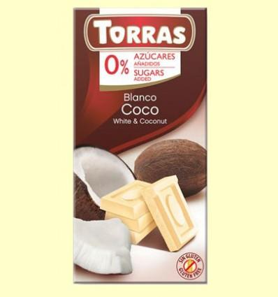 Chocolate Blanco con Coco sin Azúcar - Torras - Tableta de 75 gramos