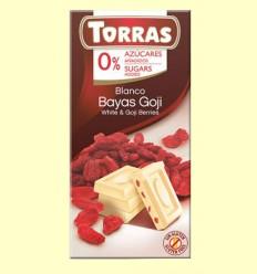 Chocolate Blanco con Bayas de Goji sin Azúcar - Torras - Tableta de 75 gramos