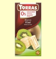 Chocolate Blanco con Kiwi sin Azúcar - Torras - Tableta de 75 gramos