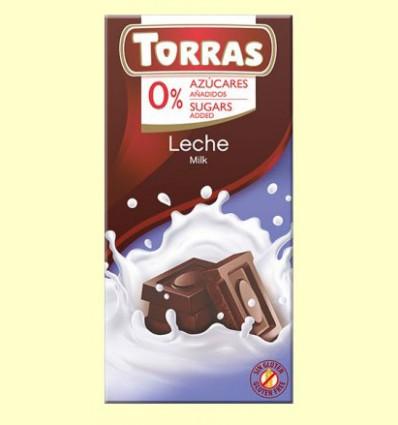Chocolate con Leche sin Azúcar - Torras - 75 gramos