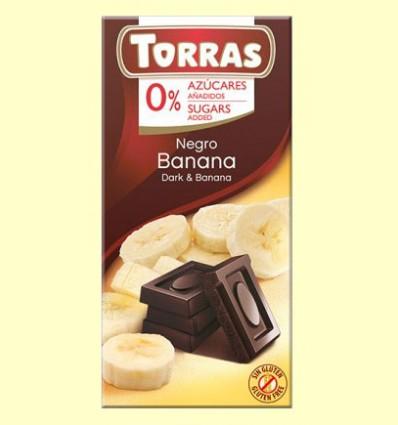Chocolate Negro con Banana sin Azúcar - Torras - 75 gramos