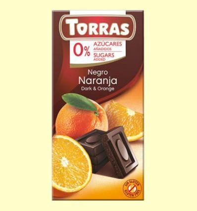 Chocolate Negro con Naranja sin Azúcar - Torras - 75 gramos