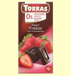 Chocolate Negro con Fresa sin Azúcar - Torras - 75 gramos