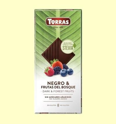 Chocolate Stevia Negro con Frutas del Bosque - Torras - 125 gramos