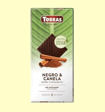Chocolate Stevia Negro con Canela - Torras - Tableta de 125 gramos