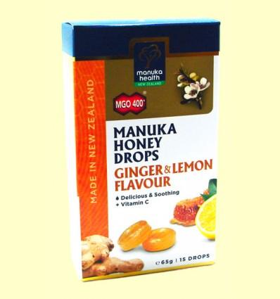 Caramelos de Miel de Manuka MGO 400+ con Jengibre y Limón - Manuka Health - 65 gramos