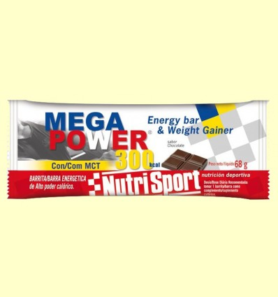 Barrita Mega Power 300 Sabor Chocolate - Nutrisport - 12 unidades