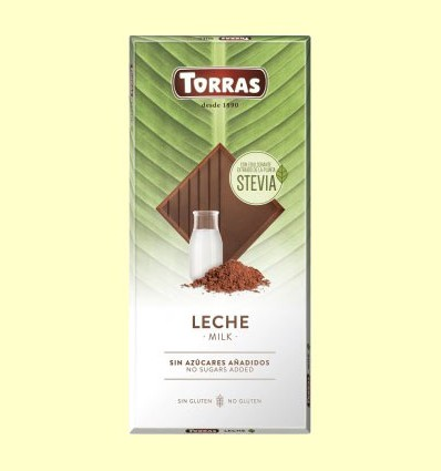 Chocolate Stevia con Leche - Torras - 100 gramos
