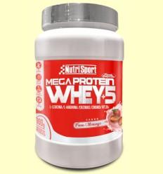 Whey+5 Mega Protein - Fresa - Nutrisport - 900 gramos