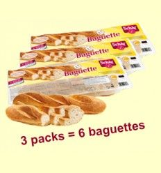 Baguette - Barra de pan sin gluten - Schär - Pack de 3 unidades = 6 baguettes
