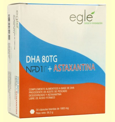 DHA 80 TG NPD1 + Astaxantina - Egle - 30 cápsulas