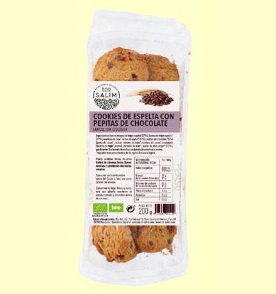 Cookies integrales de Espelta ecologica con Chocolate - Eco-Salim - 200 gramos