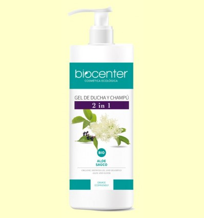 Gel de Ducha y Champú Aloe y Saúco Bio - 2 en 1 - Biocenter - 1 litro
