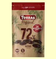 Gotas Chocolate Negro 72% Cacao Sin Azúcares añadidos - Torras - 1 kg