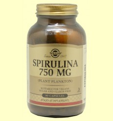Espirulina 750 mg - Plancton vegetal - Solgar - 80 cápsulas