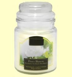 Vela Aromática de Flores Blancas en Jarrita de Cristal - Aromalia - 1 unidad