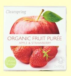 Puré de Frutas Orgánicas - Manzana y Fresa - Clearspring - 2 x 100 gramos