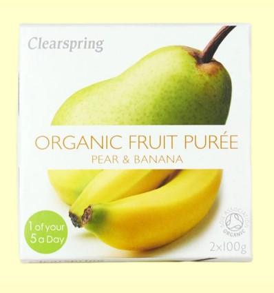 Puré de Frutas Orgánicas - Pera y Plátano - Clearspring - 2 x 100 gramos