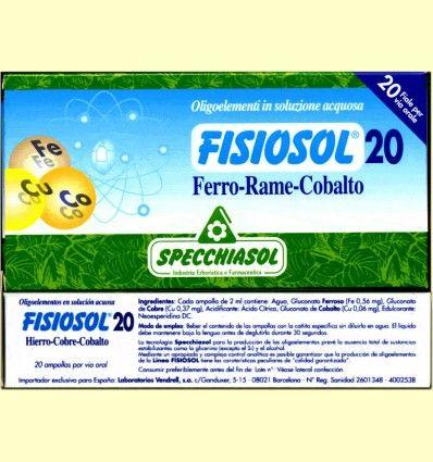 Fisiosol 20 Hierro Cobre Cobalto - Specchiasol - 20 ampollas