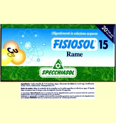 Fisiosol 15 Cobre - Rame - Specchiasol - 20 ampollas