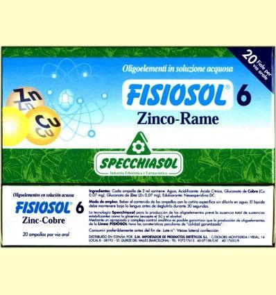 Fisiosol 6 Zinc Cobre - Specchiasol - 20 ampollas
