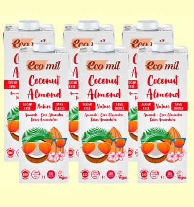 Leche de Coco y Almendras Sin Azúcar Bio - EcoMil - Pack 6 x 1 litro