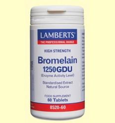 Bromelina 1250 GDU Enzimas de Piña - Lamberts - 60 tabletas