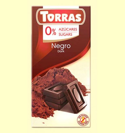 Chocolate Negro 0% Azúcares - Torras - 75 gramos