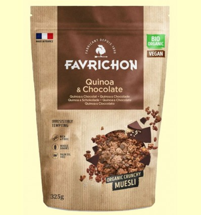 Muesli Crunchy Quinoa y Chocolate Bio - Favrichon - 325 gramos