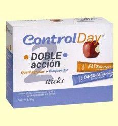Control Day - Doble acción - Quemagrasas + Bloqueador - Nutrisport - 30 sticks