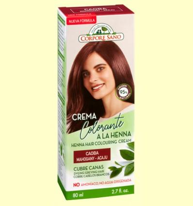 Crema Colorante Cubre Canas Henna Caoba - Corpore Sano - 80 ml