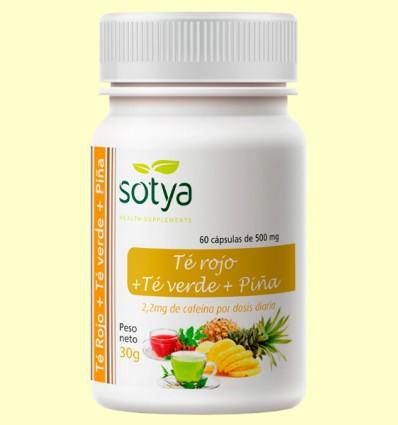 Te Rojo + Té Verde + Piña - Sotya - 60 cápsulas