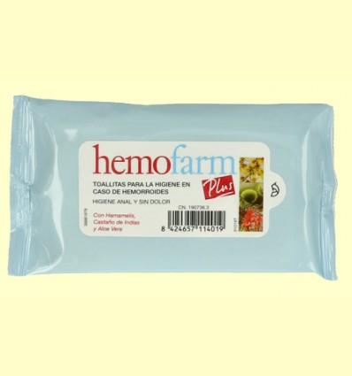 Toallitas higiénicas para hemorroides - Hemofarm Plus - 20 toallitas