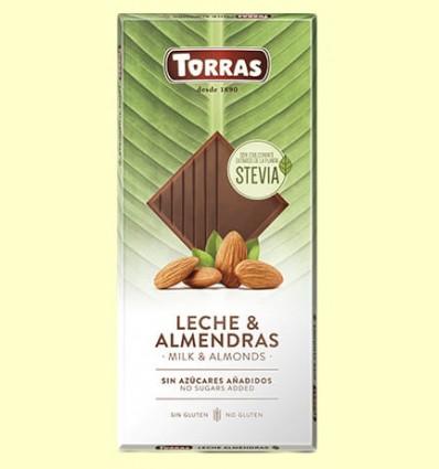 Chocolate Stevia con Leche y Almendras - Torras - 125 gramos